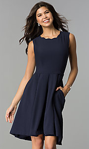 Image of a-line knee-length navy party dress with pockets. Style: ESL-62025D-K Front Image