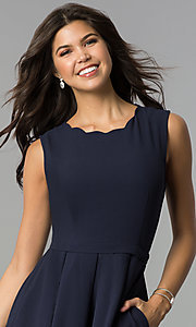 Image of a-line knee-length navy party dress with pockets. Style: ESL-62025D-K Detail Image 1