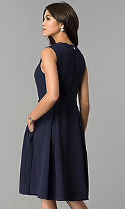 Image of a-line knee-length navy party dress with pockets. Style: ESL-62025D-K Back Image