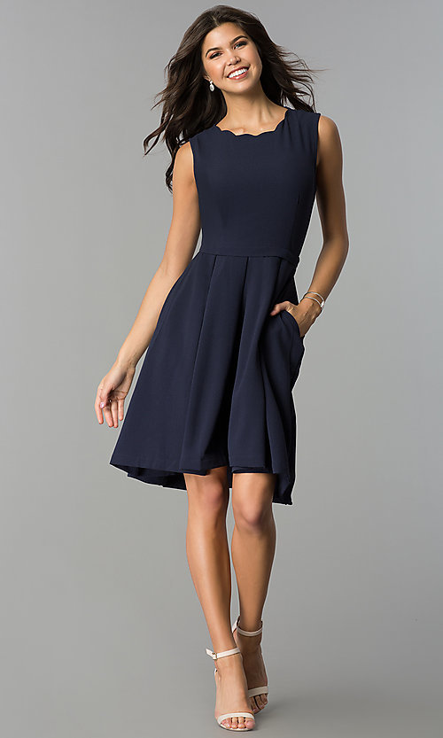 Image of a-line knee-length navy party dress with pockets. Style: ESL-62025D-K Detail Image 2
