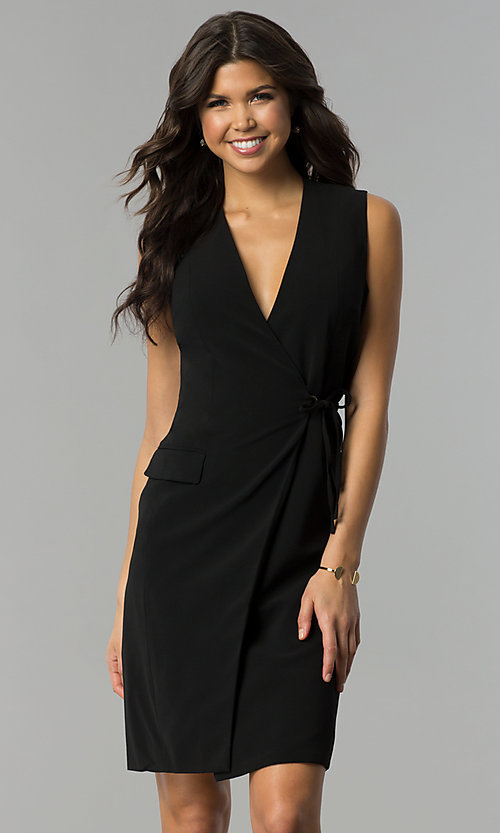 Image of day-to-night short wrap black party dress with v-neck. Style: ESL-62013D-K Front Image