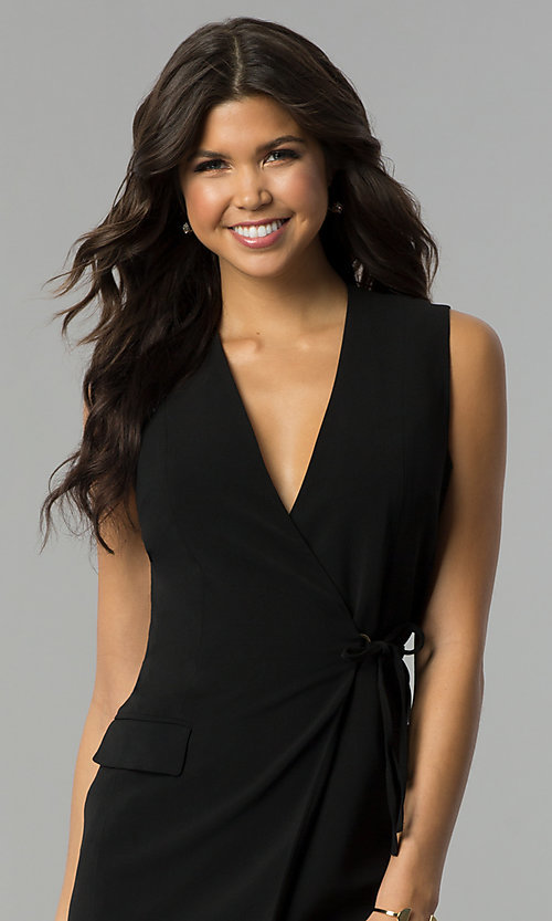 Image of day-to-night short wrap black party dress with v-neck. Style: ESL-62013D-K Detail Image 1
