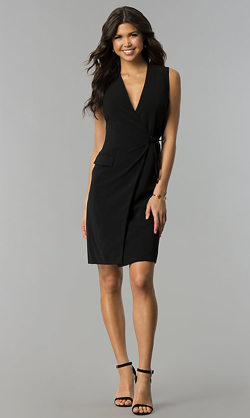 Image of day-to-night short wrap black party dress with v-neck. Style: ESL-62013D-K Detail Image 2