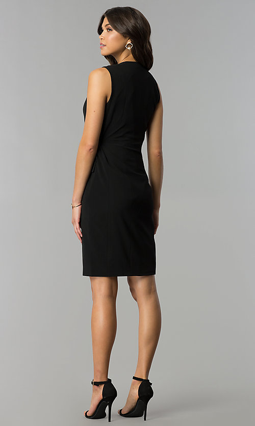 Image of day-to-night short wrap black party dress with v-neck. Style: ESL-62013D-K Detail Image 3
