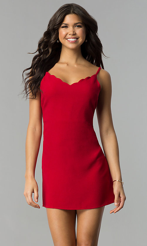 Image of short holiday party dress with scalloped v-neckline. Style: ESL-62014D-K Detail Image 2