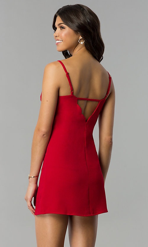 Image of short holiday party dress with scalloped v-neckline. Style: ESL-62014D-K Detail Image 3