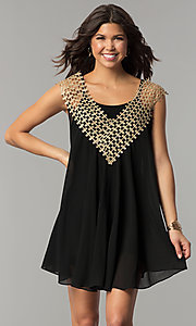 Image of short shift black and gold holiday party dress. Style: ESL-62026D-K Front Image