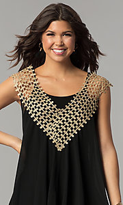 Image of short shift black and gold holiday party dress. Style: ESL-62026D-K Detail Image 1