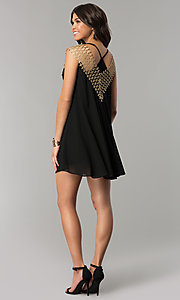 Image of short shift black and gold holiday party dress. Style: ESL-62026D-K Detail Image 3