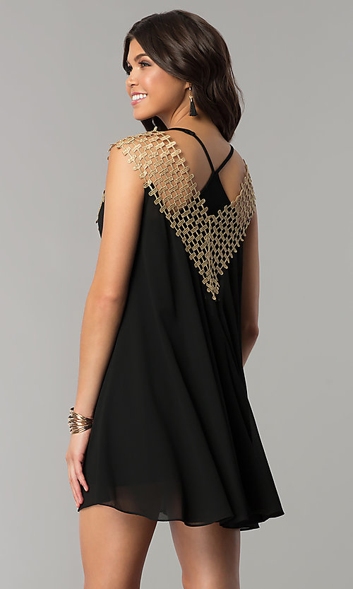 Image of short shift black and gold holiday party dress. Style: ESL-62026D-K Back Image