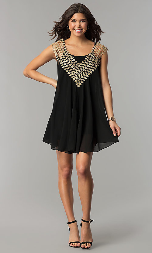 Image of short shift black and gold holiday party dress. Style: ESL-62026D-K Detail Image 2