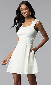 Image of ivory white short graduation dress with pockets. Style: ESL-62009D-K Front Image
