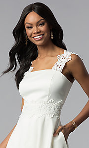 Image of ivory white short graduation dress with pockets. Style: ESL-62009D-K Detail Image 1