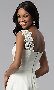 Image of ivory white short graduation dress with pockets. Style: ESL-62009D-K Detail Image 2