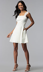 Image of ivory white short graduation dress with pockets. Style: ESL-62009D-K Detail Image 3