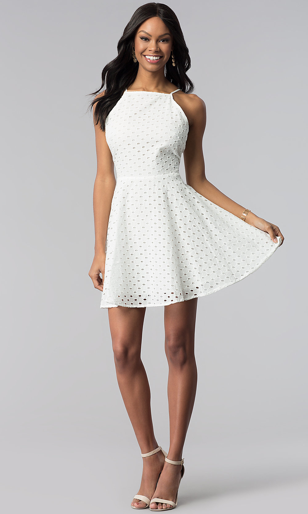 6cc9c98223 ... white graduation party dress in eyelet lace. Style  ESL-62066D. Tap to  expand
