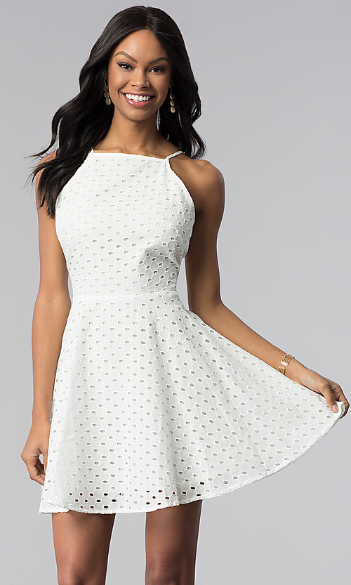 Image of short white graduation party dress in eyelet lace. Style: ESL-62066D-K Front Image
