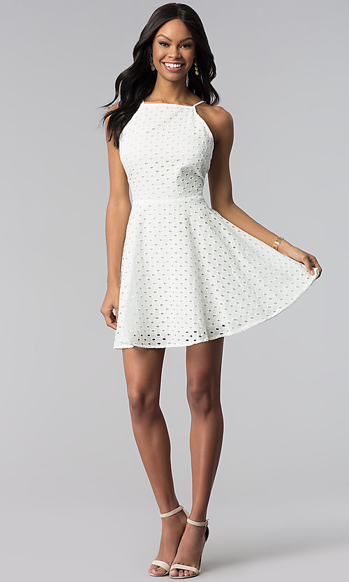 Image of short white graduation party dress in eyelet lace. Style: ESL-62066D-K Detail Image 3