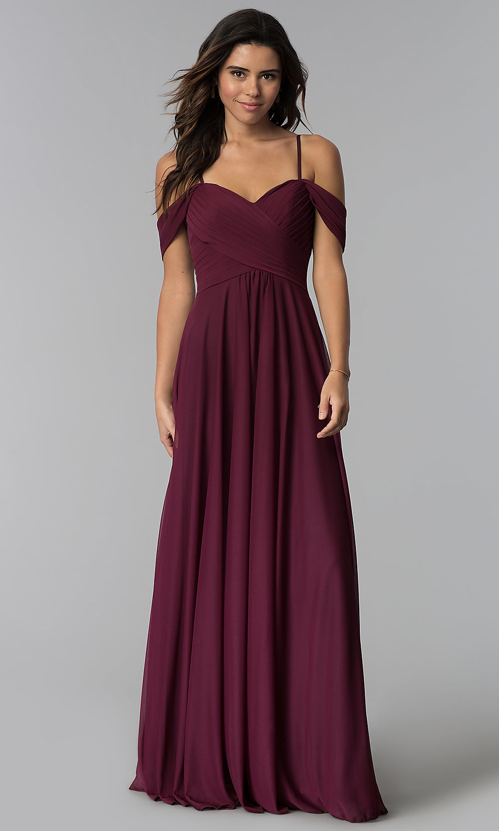 3dab9deaff79 Image of cold-shoulder long chiffon bridesmaid dress. Style: NM-BM-. Tap to  expand