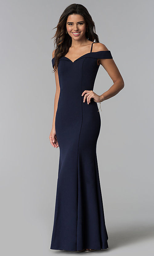 f25343d8f7 Image of navy blue off-the-shoulder long bridesmaid dress. Style  NM