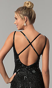 Image of sleeveless sequin v-neck long prom dress. Style: PV-3010 Detail Image 2