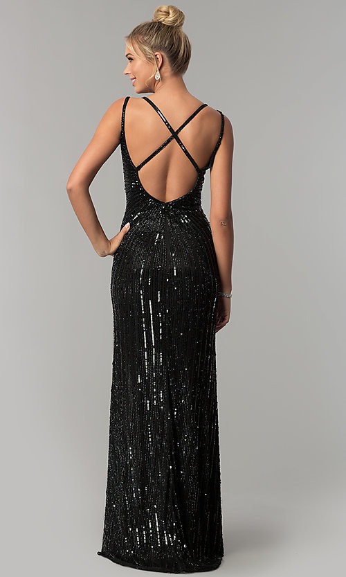 Image of sleeveless sequin v-neck long prom dress. Style: PV-3010 Back Image