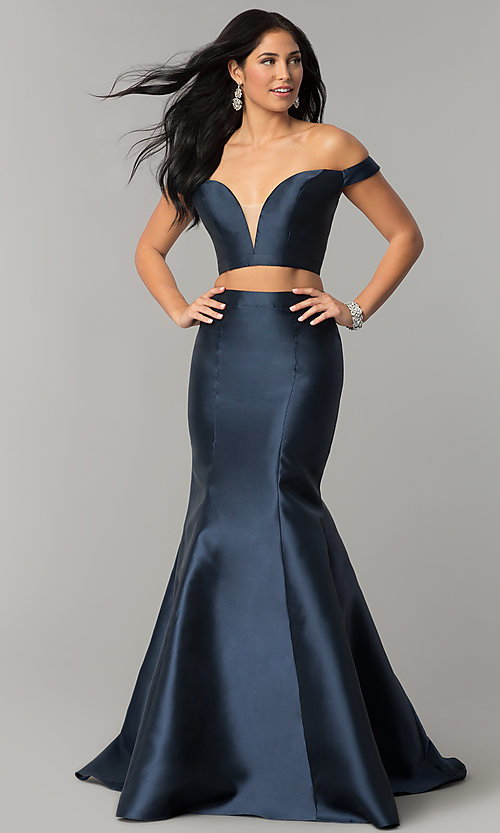 bcee08ad347 Image of navy blue two-piece JVNX by Jovani long prom dress. Style