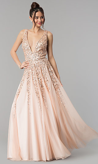Long Open-Back V-Neck Sequined-Bodice Prom Dress