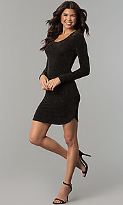 Image of long-sleeve metallic-jersey-knit holiday party dress. Style: RO-R65882 Detail Image 1
