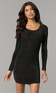 Image of long-sleeve metallic-jersey-knit holiday party dress. Style: RO-R65882 Detail Image 2