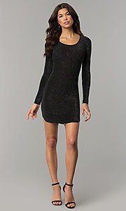 Image of long-sleeve metallic-jersey-knit holiday party dress. Style: RO-R65882 Detail Image 3