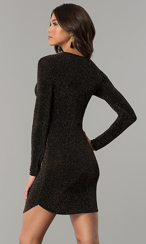 Image of long-sleeve metallic-jersey-knit holiday party dress. Style: RO-R65882 Back Image