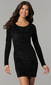 Velvet Short Holiday Party Dress With Long Sleeves