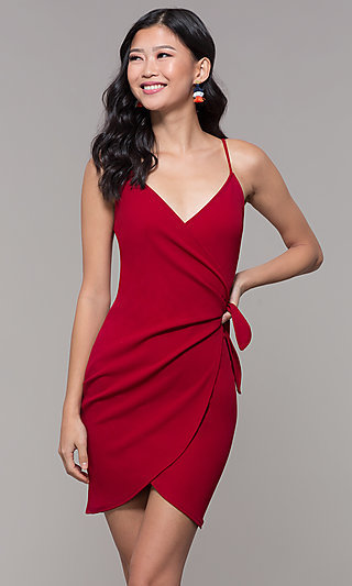 Short Wrap Cruise Party Dress with Tulip Skirt