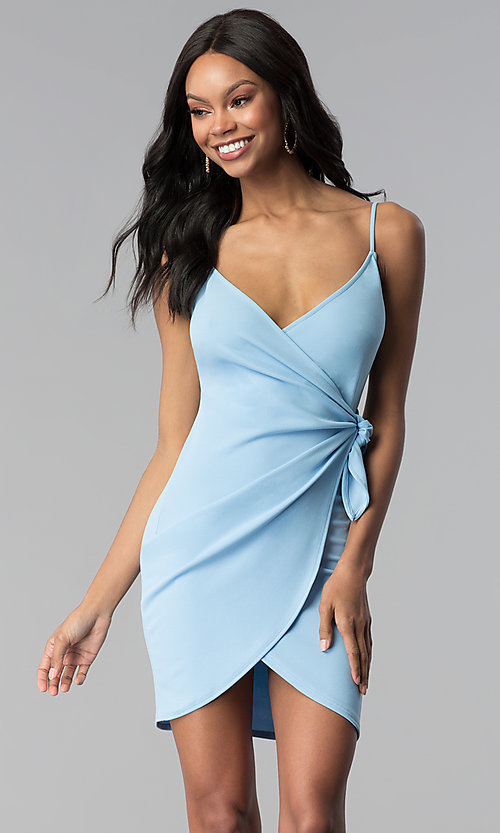 Image of short wrap cruise party dress with tulip skirt. Style: BLU-BD8615-1 Detail Image 1