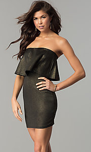 Image of metallic black and gold strapless short party dress.  Style: BLU-BD7384-3 Front Image