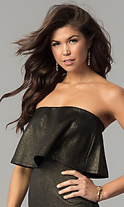 Image of metallic black and gold strapless short party dress.  Style: BLU-BD7384-3 Detail Image 1