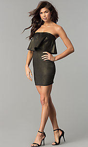 Image of metallic black and gold strapless short party dress.  Style: BLU-BD7384-3 Detail Image 2
