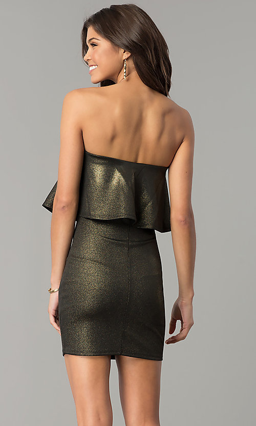 Image of metallic black and gold strapless short party dress.  Style: BLU-BD7384-3 Back Image