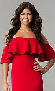 Image of red tea-length short off-the-shoulder holiday dress. Style: LT-LD6951H Detail Image 2