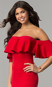 Image of red tea-length short off-the-shoulder holiday dress. Style: LT-LD6951H Detail Image 3