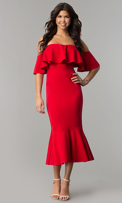 Image of red tea-length short off-the-shoulder holiday dress. Style: LT-LD6951H Front Image