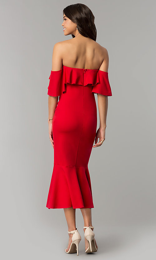 Image of red tea-length short off-the-shoulder holiday dress. Style: LT-LD6951H Back Image