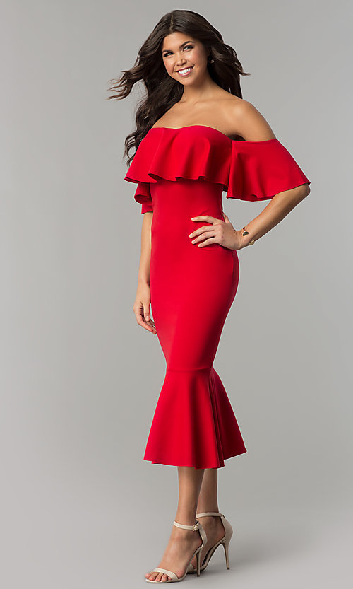 Image of red tea-length short off-the-shoulder holiday dress. Style: LT-LD6951H Detail Image 1