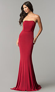 Image of strapless long wedding-guest dress with train. Style: LT-LD6658H Front Image