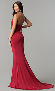 Image of strapless long wedding-guest dress with train. Style: LT-LD6658H Back Image