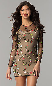 Image of floral-embroidered sheer-long-sleeve party dress. Style: LT-LD6754Z Front Image