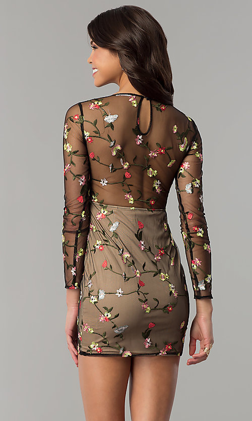 Image of floral-embroidered sheer-long-sleeve party dress. Style: LT-LD6754Z Back Image
