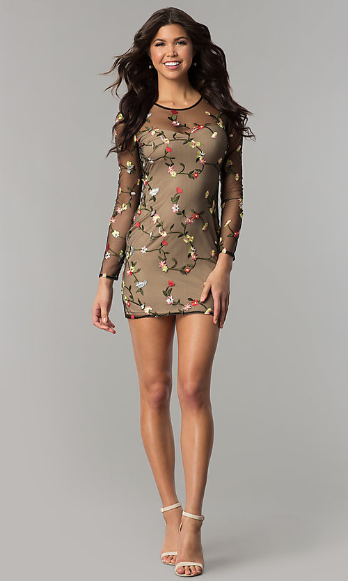 Image of floral-embroidered sheer-long-sleeve party dress. Style: LT-LD6754Z Detail Image 2