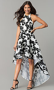 Image of ivory and black halter high-low homecoming dress. Style: LT-LD6720H Front Image